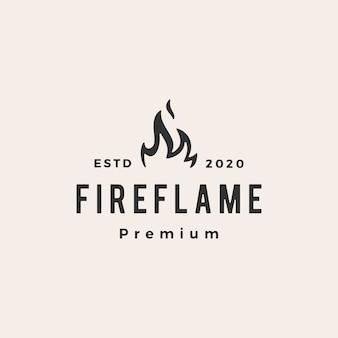 Logo vintage de llama de fuego
