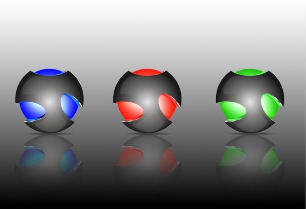 Logos abstractos de la esfera 3d que tallan el conjunto. esferas del logotipo.