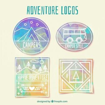 Logos de acuarela de aventura