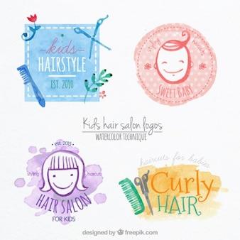 Logos de acuarela de peluquería de niños