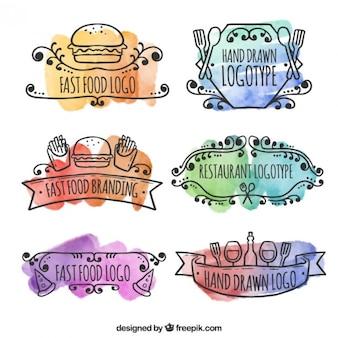 Logos de acuarela de restaurantes dibujados a mano