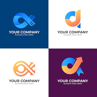 Logos alfa de colores degradados