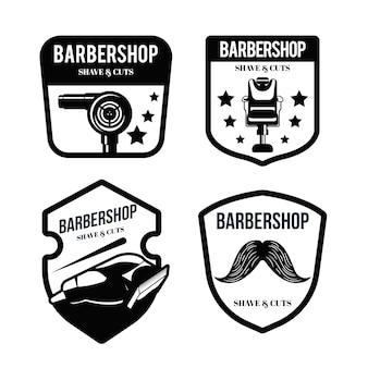 Logos de barbería en blanco y negro