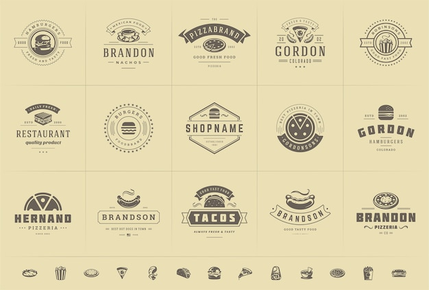 Logos de comida rápida establecen ilustración vectorial bueno para pizzerías o hamburguesas y distintivos de menú de restaurante con siluetas de alimentos