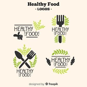 Logos de comida saludable dibujado a mano