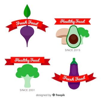 Logos de comida saludable en diseño plano