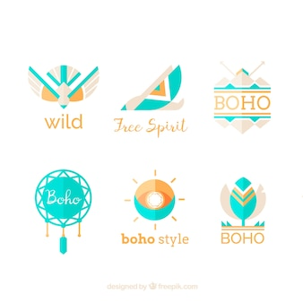 Logos étnicos fantásticos con elementos azules