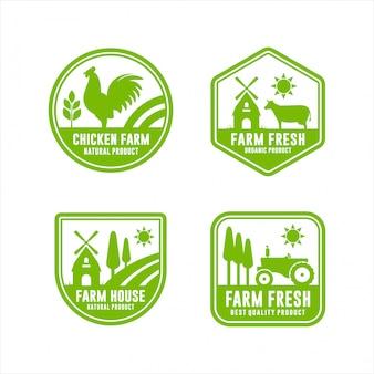 Logos frescos de granja producto natural