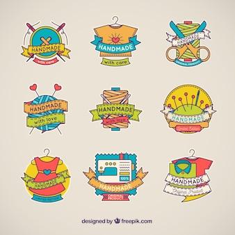 Logos de hecho a mano con estilo de dibujo a mano