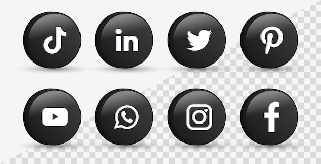 Logos de iconos de redes sociales en 3d círculo negro moderno icono de facebook instagram twitter