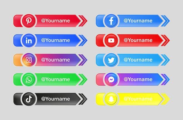 Logos de iconos de redes sociales en botones brillantes 3d con círculo moderno