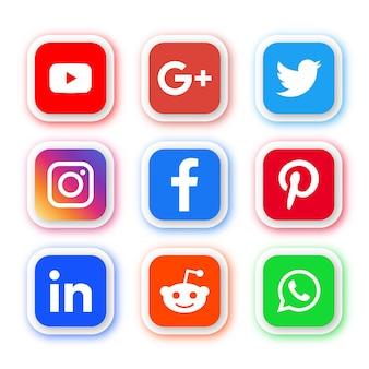 Logos de iconos de redes sociales en botones modernos de rectángulo redondo