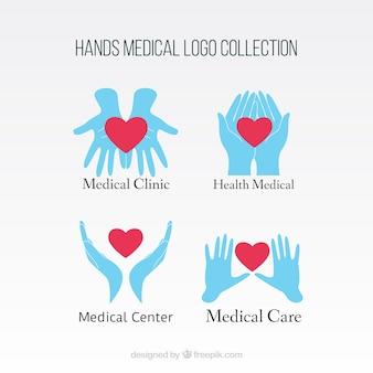 Logos médicos de manos con corazón