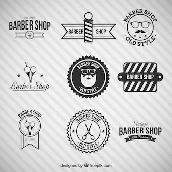 Logos negros de barbería