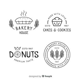 Logos de panadería en arte lineal