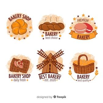 Logos de panadería dibujados a mano