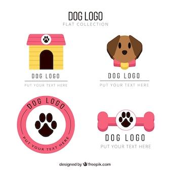 Logos de perros planos con detalles rosas