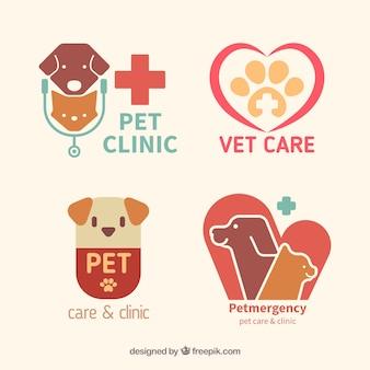 Logos planos de clínica de mascotas