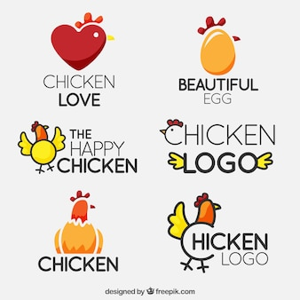 Logos de pollos fantásticos en diseño plano