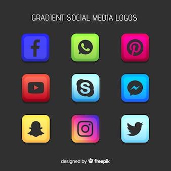 Logos de redes sociales en color degradado