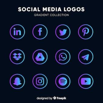Logos de redes sociales en colores degradados