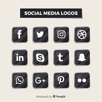 Logos de redes sociales en negro
