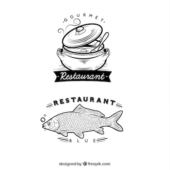 Logos de restaurante dibujados a mano