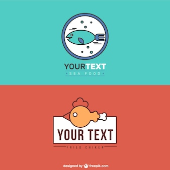 Logos de restaurantes de comida de mar y pollo frito