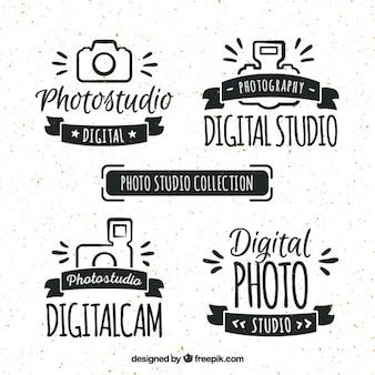 Logos retro de estudio de foto dibujado a mano