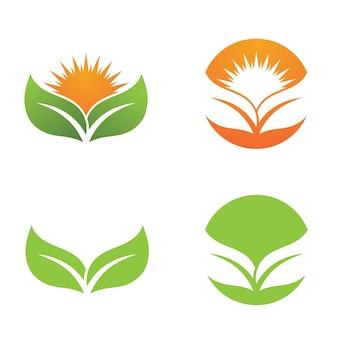 Logos de vector de elemento de naturaleza de ecología de hoja de árbol verde
