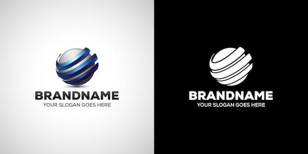 Logotipo 3d de la empresa de negocios esfera