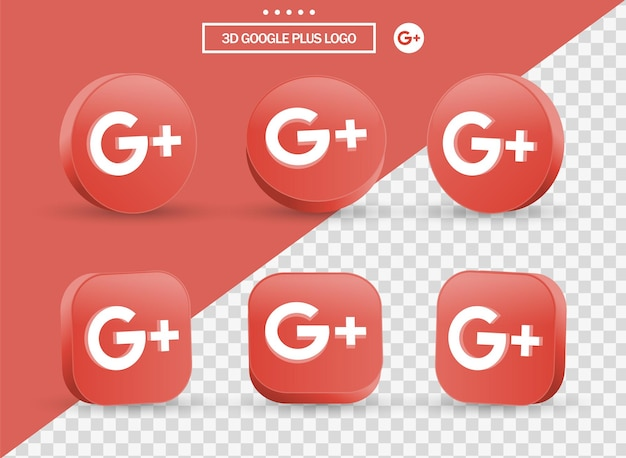 Logotipo 3d de google plus en círculo y cuadrado de estilo moderno para logotipos de iconos de redes sociales