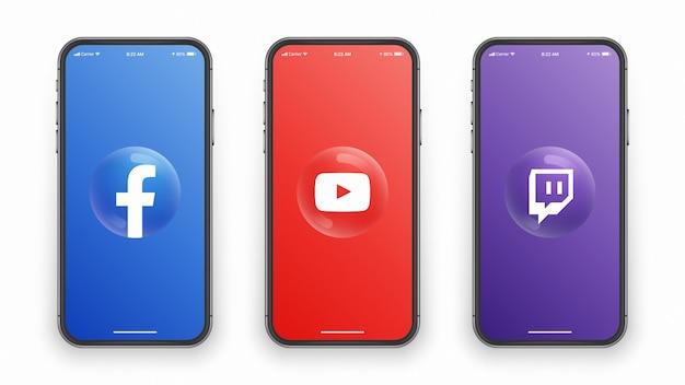 Logotipo 3d en la pantalla del teléfono inteligente