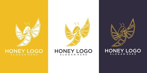 Logotipo de abeja con concepto geométrico