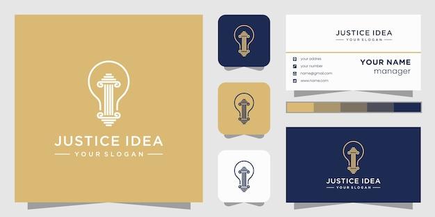 Logotipo de abogado de bombilla de idea creativa