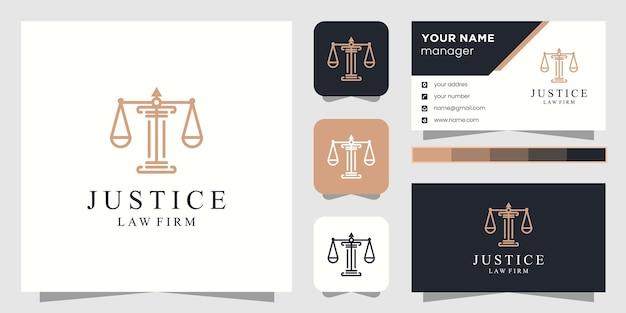 Logotipo de abogado de justicia y tarjeta de visita.