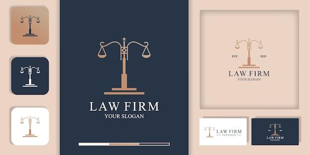 Logotipo de abogado, logotipo de poste de ley y tarjeta de visita