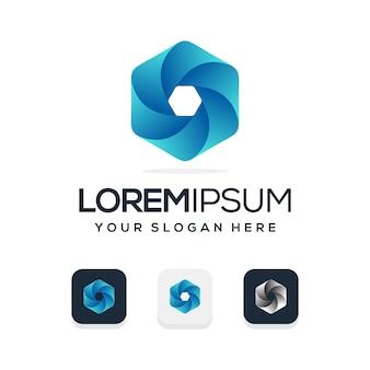 Logotipo abstracto azul hexagonal