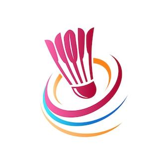 Logotipo abstracto de bádminton