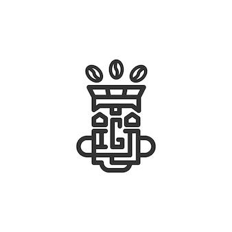 Logotipo abstracto con café y tótem