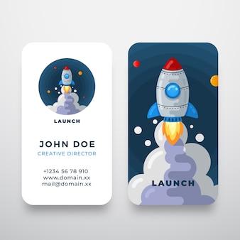 Logotipo abstracto de cohete y tarjeta de visita
