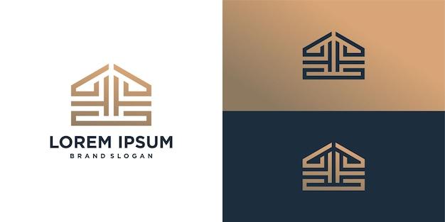 Logotipo abstracto creativo con estilo de arte lineal.