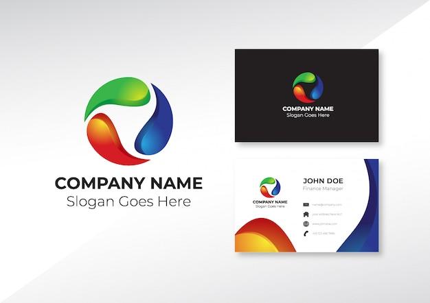 Logotipo abstracto creativo con plantilla de tarjeta de visita