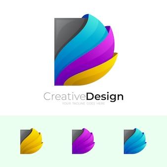 Logotipo abstracto d con plantilla de diseño simple
