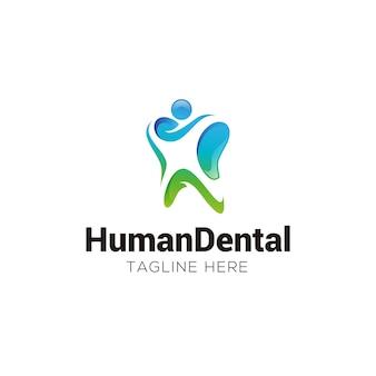 Logotipo abstracto de dientes humanos y dentales