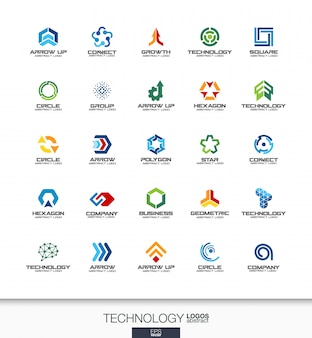 Logotipo abstracto para empresa. elementos de identidad corporativa. conceptos de tecnología, redes sociales, internet y redes. colección de logotipos de conexión digital. iconos de colores