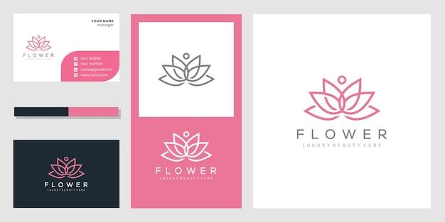 Logotipo abstracto de la flor de loto y tarjeta de visita