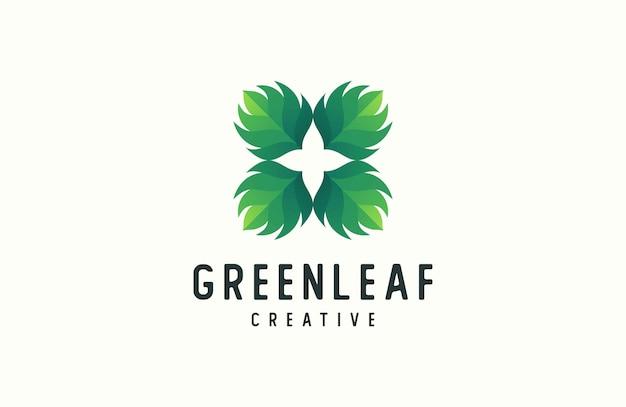 Logotipo abstracto de forma de hoja
