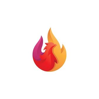 Logotipo abstracto de fuego y pájaro phoenix