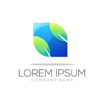 Logotipo abstracto de la hoja